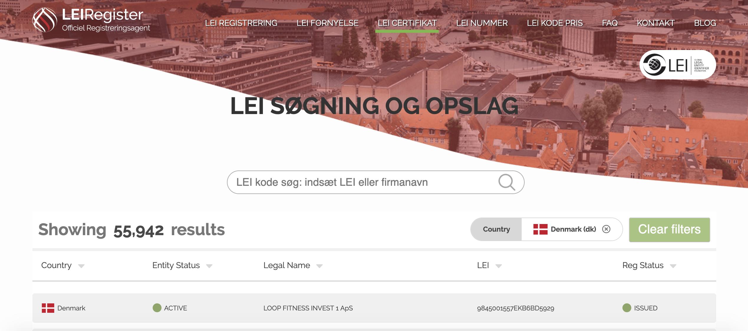 På LEI Registers hjemmeside klik på LEI CERTIFIKAT-knappen